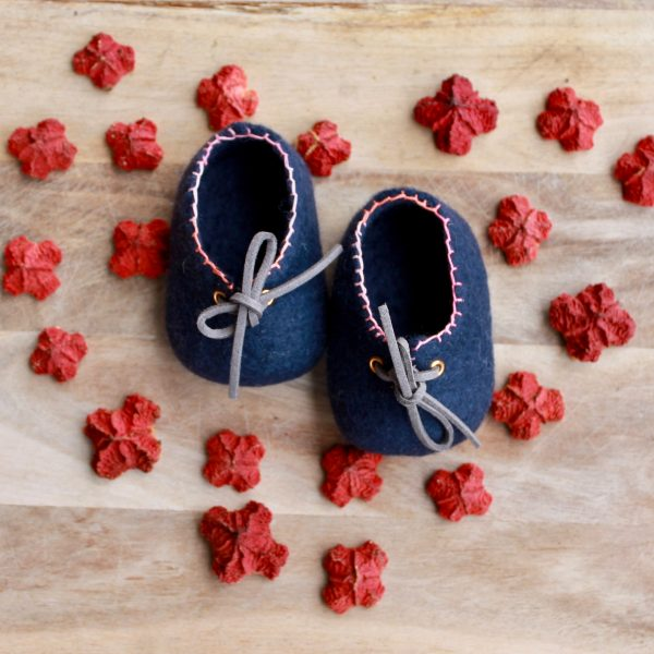 Navy and pink - Perth pretties - Woollen felt baby shoe - Australian made special gift