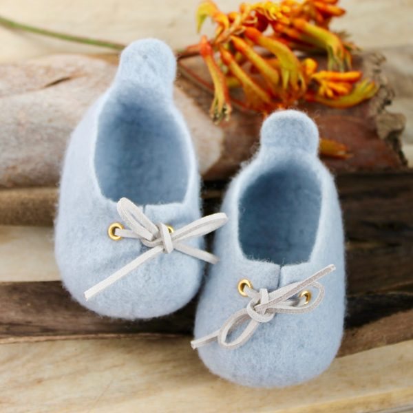 Sky blue - Sydney Sneaker - Woollen felt baby shoe - Australian made special gift kangaroo paw
