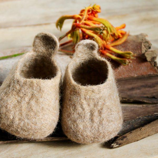 Tan - Canberra Clogs - Woollen felt baby shoe - Australian made special gift