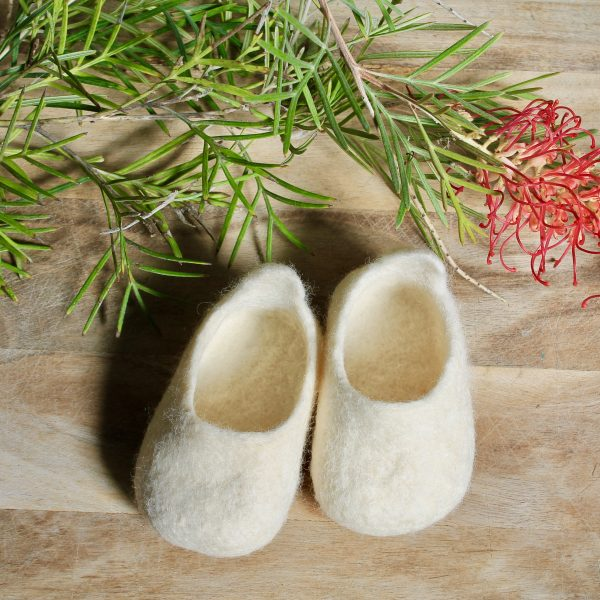 White - Canberra Clogs - Woollen felt baby shoe - Australian made special gift