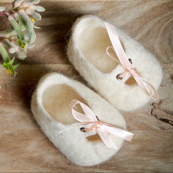 White - Custom baby Melbourne Mary Janes - Woollen felt baby shoe - Australian made special gift