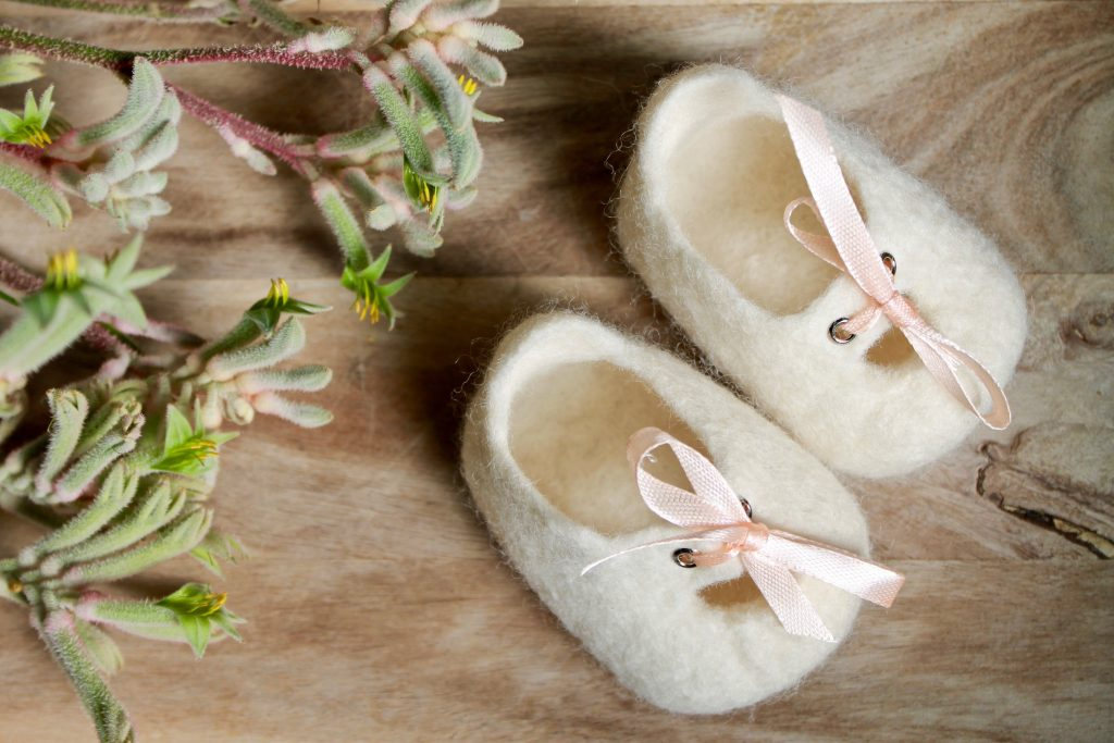 White - Melbourne Mary Janes - Woollen felt baby shoe - Australian made special gift 5