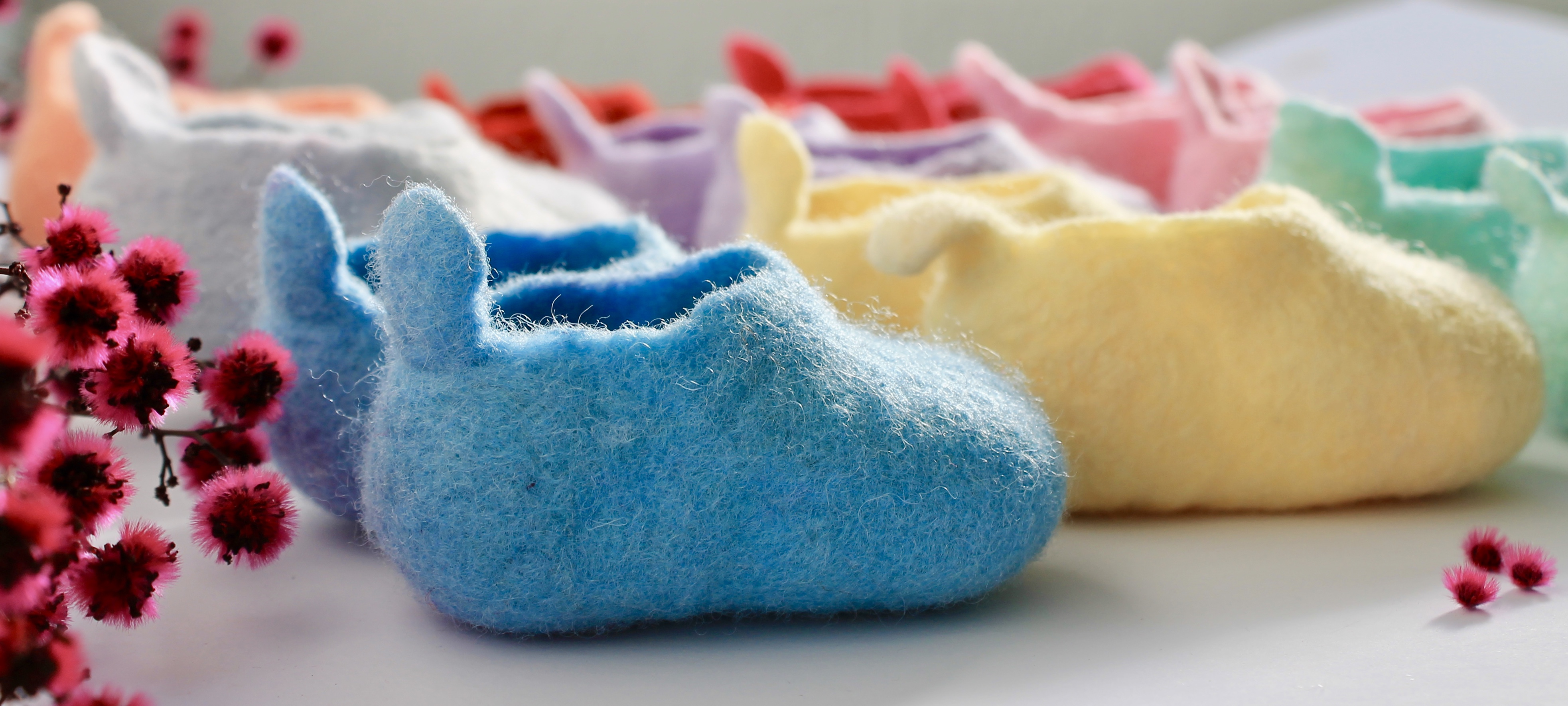 Wool felted baby shoes canberra clog style Australian made