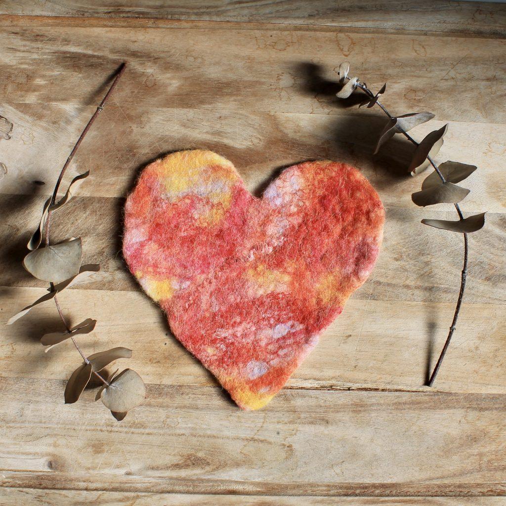 Heart felt coaster art